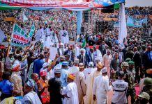 President Muhammadu Buhari at the APC rally in Gombe