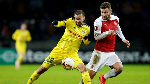 The Bate Borisov captain was a constant threat down the Arsenal left and laid on his seventh assist in as many Europa League matches this season