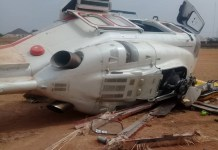 The scene of the helicopter crash that was conveying VP Yemi Osinbajo