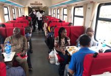 Transportation Minister, Rotimi Amaechi on the newly commissioned Lagos-Abeokuta rail