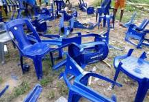 Upturned chairs at the campaign rally of APC in Sagbama, Bayelsa