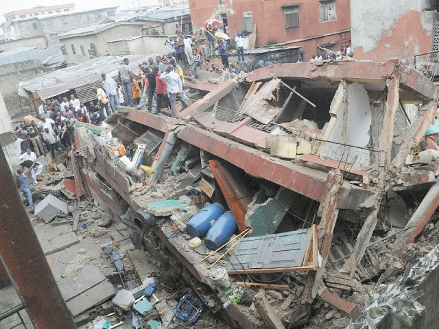 An aerial view of the collapsed building in Ita Faji, Lagos Island