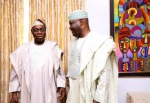 Chief Olusegun Obasanjo and Atiku Abubakar, the PDP presidential candidate