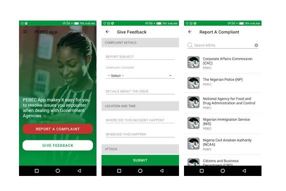 PEBEC has launched ReportGov app which can be installed via Google Play is for complaints against Police, Customs, CAC, others