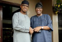 Prince Dapo Abiodun and Otunba Gbenga Daniel held a closed door meeting at the latter's home in Maryland, Lagos