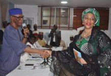 Senator Gbemisola Saraki received by Chief John Odigie-Oyegun