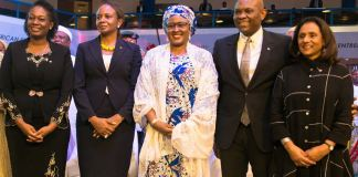Incoming CEO, Tony Elumelu Foundation (TEF), Mrs Ifeyinwa Ugochukwu; Outgoing CEO, Mrs Parminder Vir; Wife to the President of Nigeria, Mrs Aisha Buhari; Founder, The Tony Elumelu Foundation(TEF), Mr. Tony Elumelu; and Trustee , TEF; Dr Awele Elumelu, during the announcement of 3,050 entrepreneurs of the 5th cycle of Tony Elumelu Foundation Entrepreneurship Programme held in Abuja on Friday