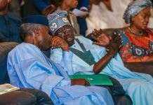Vice President Yemi Osinbajo and Asiwaju Bola Tinubu at the 11th Bola Tinubu Colloquium in Abuja on 29 March 2019