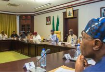 VP Osinbajo with Chief of Staff to the President, Abba Kyari (1L); Min. of Agriculture, Audu Ogbeh (2L); Min. of Power, Works & Housing, Babatunde Raji Fashola, SAN (3L); Min. of Budget & National Planning, Udo Udo Udoma (4L); Min of Water Resources, Engr. Suleiman Hussein Adamu (L); Deputy Chief of Staff, Adeola Ipaye (1R) and Special Adviser to the President on Economic Matters, Amb. Adeyemi Dipeolu (R).