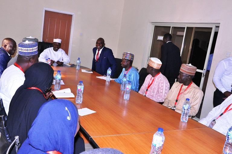 Ag EFCC Chairman Ibrahim Magu presiding over a meeting