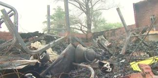 Debris at one of the church fires in Louisiana's St. Landry Parish