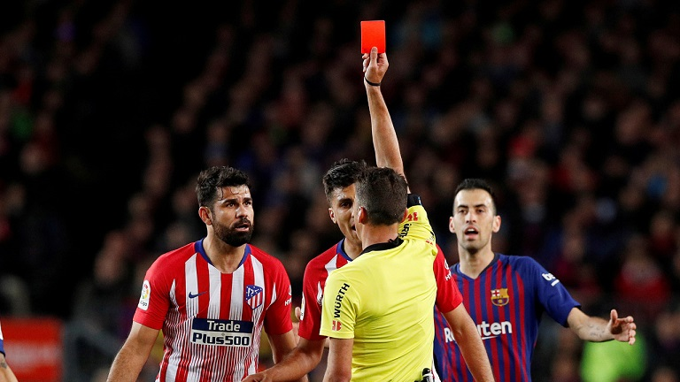 Diego Costa shown the red card in the match against Barcelona