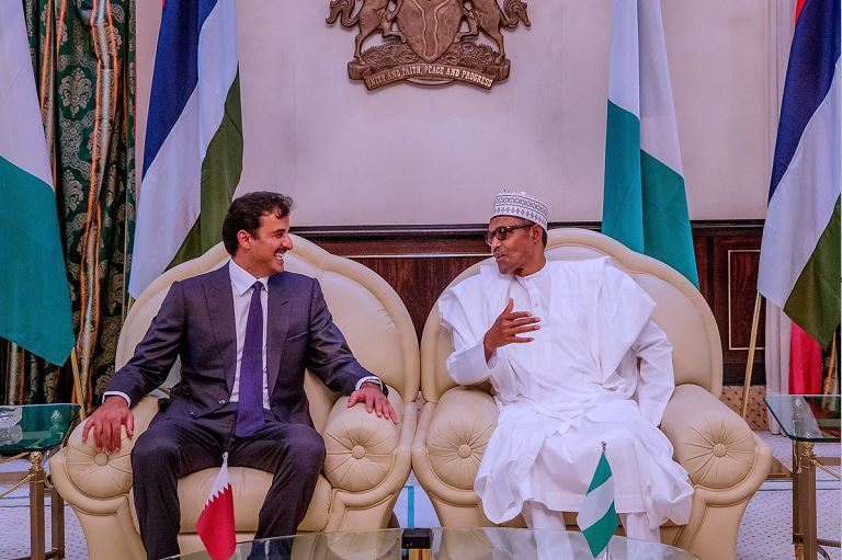 President Muhammadu Buhari receives the Emir of Qatar in Abuja, Nigeria's capital