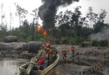 Troops combing Niger Delta creeks after a fire outbreak