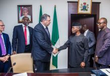 VP Osinbajo with CEO of TOTAL Group, Mr Patrick Pouyanne, flanked by Min. of State, Petroleum Resources, Dr. Emmanuel Ibe Kachikwu (R); DMD TEPNG, Musa Kida Ahmadu & MD TEPNG, Mr. N Terraz