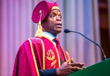 Vice President Yemi Osinbajo delivering his speech at the 50th Anniversary of Unilag Convocation