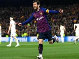 Lionel Messi celebrates after scoring against Granada