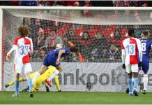 Alonso stooped low to head in the only goal of the game