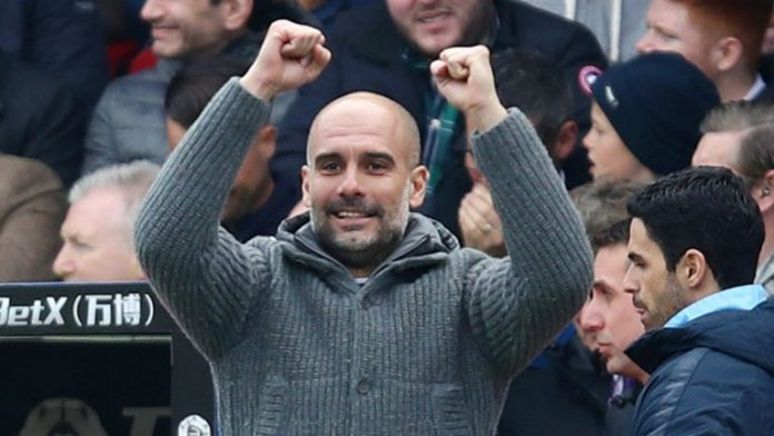 City Coach Pep Guardiola obviously happy with the result