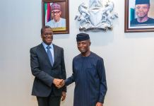 Vice President Yemi Osinbajo with Senior Cabinet Minister, Secretary General to the Office of the President of Benin Republic, Mr. Pascal Irenee Koupaki