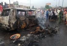 Bus caught fire in Lagos