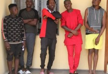 Naira Marley (third from left and Zlatan is fourth from left