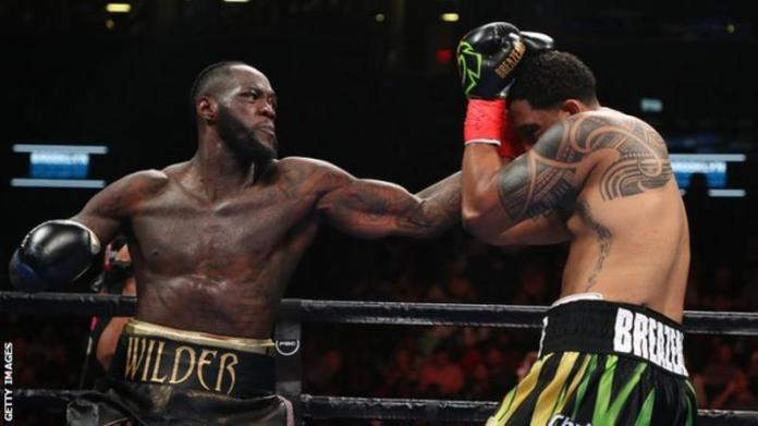 Deontay Wilder has a record of 41 wins and a draw from 42 bouts