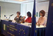L-R: Hannah Roberts, Maria Arena and Sarah Fradgley during the press conference at Transcorp Hilton on Saturday in Abuja