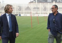 Maurizio Sarri is shown around the Juventus stadium by vice chairman Pavel Nedved