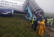 Passengers disembarking from the Air Peace Airliner that overshot runway in Port Harcourt