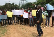 Protesters against Governor Yahaya Bello at Unity Fountain arena, Abuja