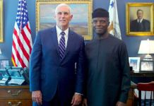 Vice President Yemi Osinbajo visited Vice President Mike Pence at the White House