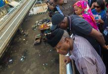 Vice President Yemi Osinbajo visits Apapa to review progress of the traffic gridlock, Lagos.