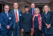 Vice President Yemi Osinbajo, Prof. Srikant Datar with others from Harvard Business School