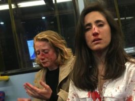 The couple Melania Geymonat (right) and her girlfriend Chris needed hospital treatment