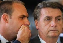 Eduardo (L), the third son of Mr Bolsonaro (R), has a strong influence on his father