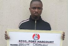 Kelvin Okowhan was arrested by EFCC following complaints from members of the public on Facebook