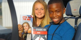 Pilot Megan Werner and Ntando were two of the 20 students that built the plane