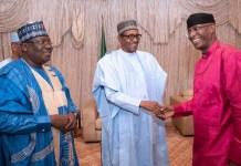 President Muhammadu Buhari flanked by Senate President Ahmad Lawan and deputy, Ovie Omo-Agege