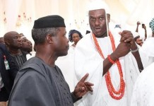 Vice President Yemi Osinbajo and Ooni of Ife, His Imperial Majesty Oba Adeyeye Ogunwusi