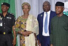 From left: Inspector General of Police Mohammed Adamu; wife of Kwara State Governor, Mrs. Olufolake Abdulrahaman; Chairman, Joint Tax Board; Mr. Babatunde Fowler; and Vice President Yemi Osinbajo at the flag-off ceremony of the new Joint Tax Board Tax Identification Number Registration System in Abuja on Monday