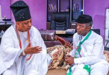 Vice President Yemi Osinbajo with Akarigbo of Remo land, Oba Babatunde Adewale Ajayi at the palace of Oba Akarigbo of Remo land
