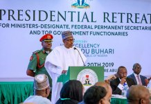 President Muhammadu Buhari speaking at the Presidential Retreat for Ministers in Abuja