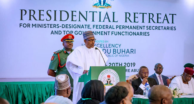 President Muhammadu Buhari speaking at the Presidential Retreat for Ministers in Abuja