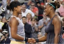 Naomi Osaka (left) was facing Serena Williams for the first time since their 2018 US Open final