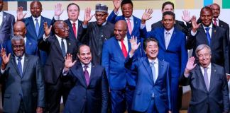 President Muhammadu Buahri and other African leaders with Japanese PM, Shinzo Abe