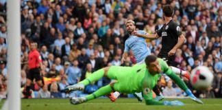 Sergio Aguero scored twice as Manchester City thrashed Brighton 4-0