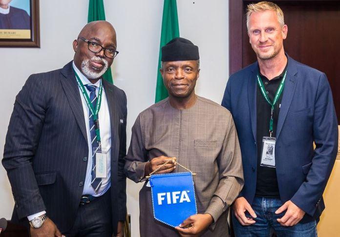 Vice President Yemi Osinbajo (middle) with Nigeria Football Federation (NFF) Amaju Pinnick and Head of FIFA inspection team, Mr Kaj Heyral