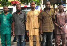 The five real estate scammer: Abolade Oladimeji, 43, Ademola Ayo, 45, Emmanuel Fabiyi, 65, Ademola Hakeem, 49, and Sunday Ayodele, 52