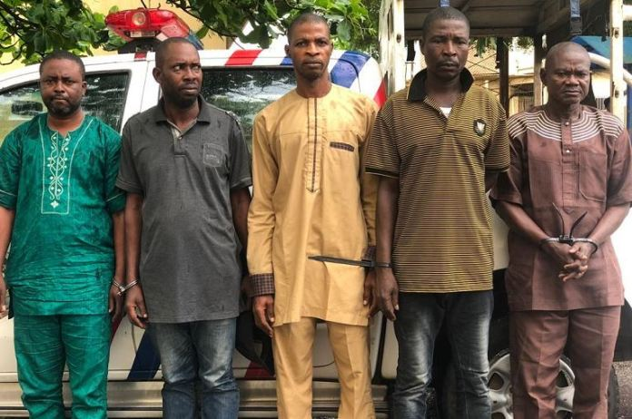 The five real estate scammer: Abolade Oladimeji, 43, Ademola Ayo, 45, Emmanuel Fabiyi, 65, Ademola Hakeem, 49, and Sunday Ayodele, 52